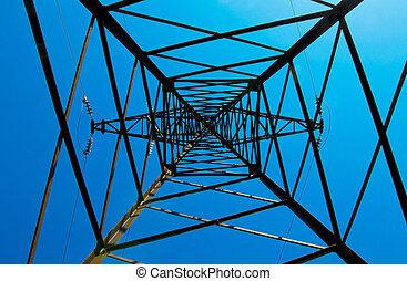 bleu, puissance, &, ciel, lignes, contre, pylône