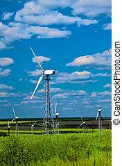 bleu, puissance, -, turbines, contre, station, herbe verte, enroulez ciel