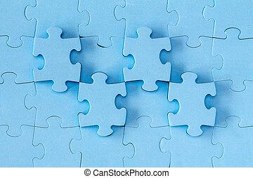 bleu, puzzle, fait, fond, morceaux
