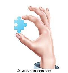 bleu, puzzle, main, réaliste, vecteur, tenue, homme