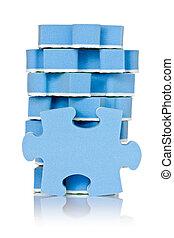 bleu, puzzle, pile