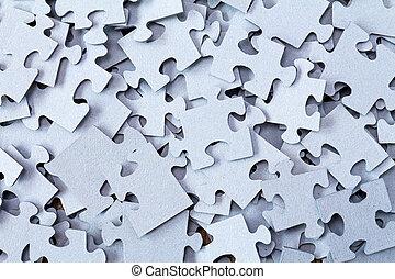 bleu, puzzle, tas, vide