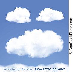 bleu, réaliste, ciel, nuages