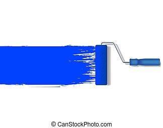 bleu, réaliste, peinture, vecteur, ligne, peinture, rouleau