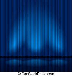 bleu, réaliste, rideau