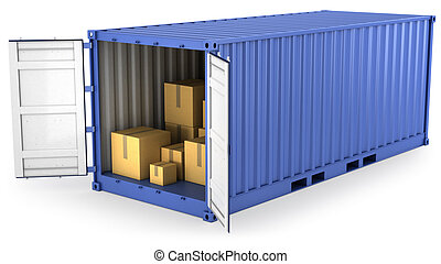 bleu, récipient, ouvert, intérieur, boîtes, carton