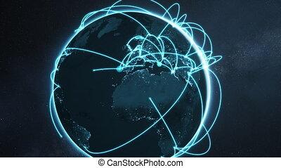 bleu, réseau, global, -, animation, version, nuit, la terre