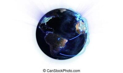 bleu, réseau, la terre, éclairé