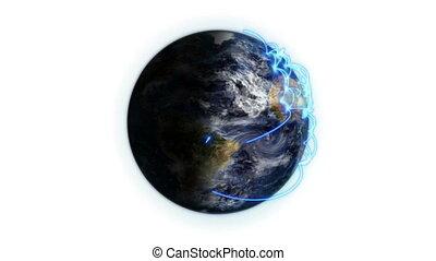 bleu, réseau, la terre, ombragé