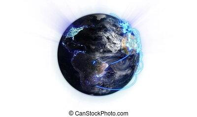 bleu, réseau, ombre, éclairé
