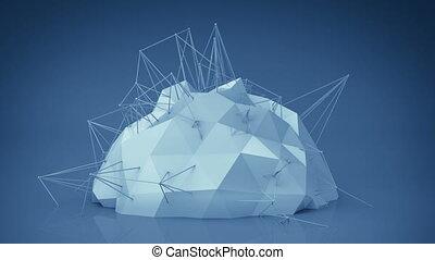 bleu, réseau, render, résumé, forme., animation, futuriste, boucle, 3d