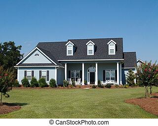 bleu, résidentiel, deux histoire, maison