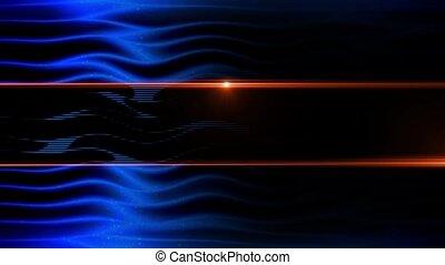 bleu, résumé, animation, profond, vagues