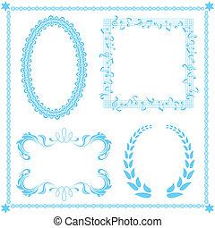 bleu, résumé, ensemble, cadre