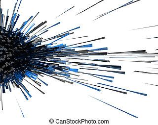 bleu, résumé, explosion, 3d