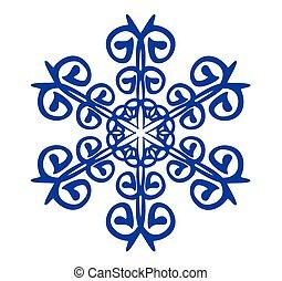 bleu, résumé, fond blanc, flocon de neige