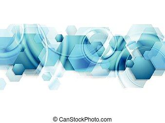 bleu, résumé, hexagones, clair, lustré, fond