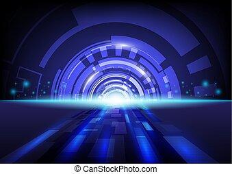 bleu, résumé, hitech, arrière-plan., technologie numérique