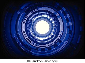 bleu, résumé, hitech, fond, technologie numérique