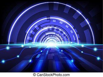 bleu, résumé, hitech, vecteur, fond, technologie numérique