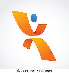 bleu, résumé, icône, couleurs, humain, orange