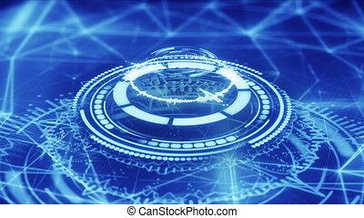 bleu, résumé, loopable, forme, animation, cercle, futuriste