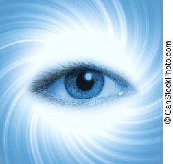 bleu, résumé, oeil, fond, humain