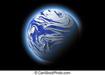 bleu, résumé, planète, détails, cosmos, atmosphère