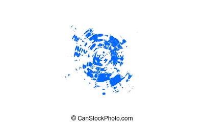 bleu, résumé, radial, mouvement, vidéo, vagues, concentrique, ripples., circulaire