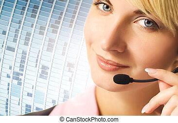 bleu, résumé, téléphone, fond, opérateur, amical