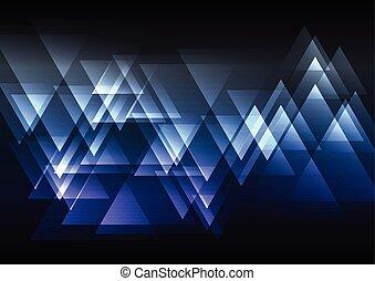 bleu, résumé, triangle, chevauchement