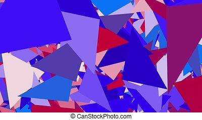 bleu, résumé, triangles, fond