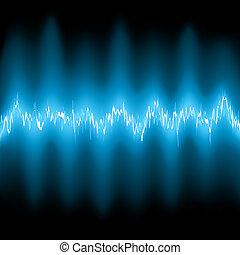 bleu, résumé, waveforms., eps, fréquence, 8, lueur