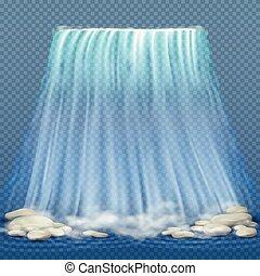 bleu, rapides, illustration, eau, réaliste, vecteur, propre, chute eau, pierres