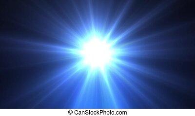bleu, rayons, étoile, lumière, long, briller