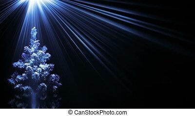 bleu, rayons, lumière, arbre, fond, noël, boucle