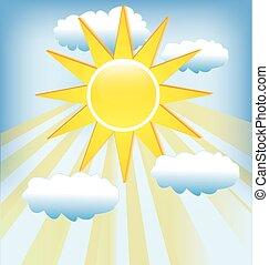bleu, rayons, soleil, ciel, nuageux, arrière-plan.