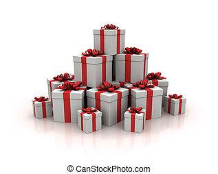 bleu, render, cadeau, élevé, boîtes, qualité, pile, 3d