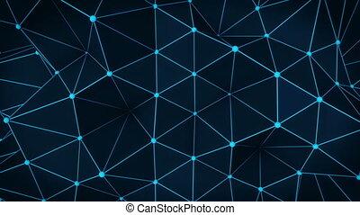 bleu, render, résumé, polygonal, incandescent, surface., boucle, 3d