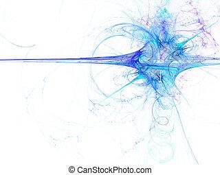 bleu, rendu, digitalement, résumé, exploser, white., fractal