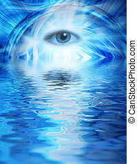 bleu, rendu, oeil, fond, résumé, reflété, eau, humain