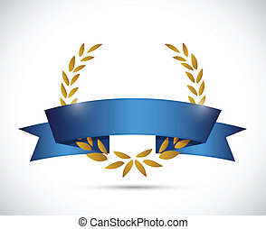 bleu, ribbon., or, illustration, conception, laurier