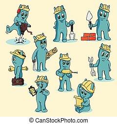 bleu, rigolote, style, ensemble, situations, hommes, différent, illustration, cornes, chibi, constructeurs, griffonnage