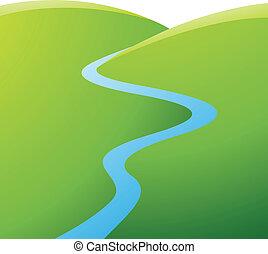 bleu, rivière, collines vertes