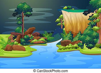 bleu, rivière, forêt, profond