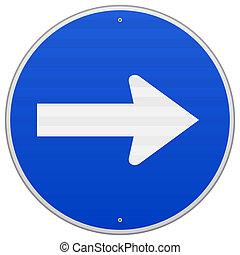 bleu, roadsign, droit, pointage