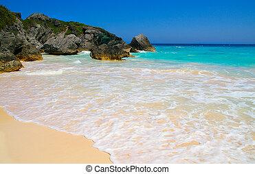 bleu, rocheux, eau océan, (bermuda), littoral, plage, sablonneux