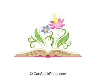 bleu, rose, centre, fabuleux, luxuriant, leaves., illustration, grand, arrière-plan., vecteur, pétales, pilon, fleurs blanches