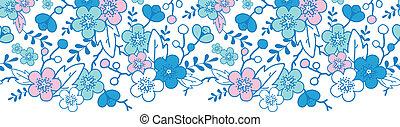 bleu, rose, fleurs, modèle, seamless, kimono, fond, horizontal, frontière