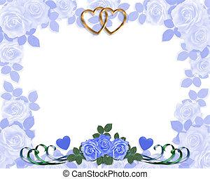 bleu, roses, invitation, mariage